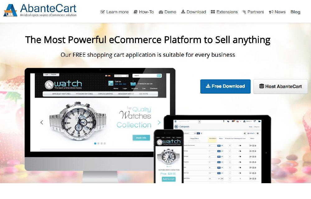 Plataforma ecommerce las mejores de venta digital AbanteCart