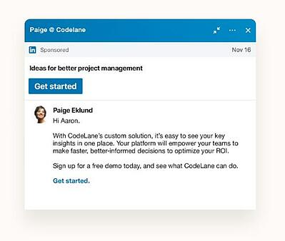 Anuncios-de-texto Sponsored Messaging de LinkedIn guia para llegar a tu target via mensaje