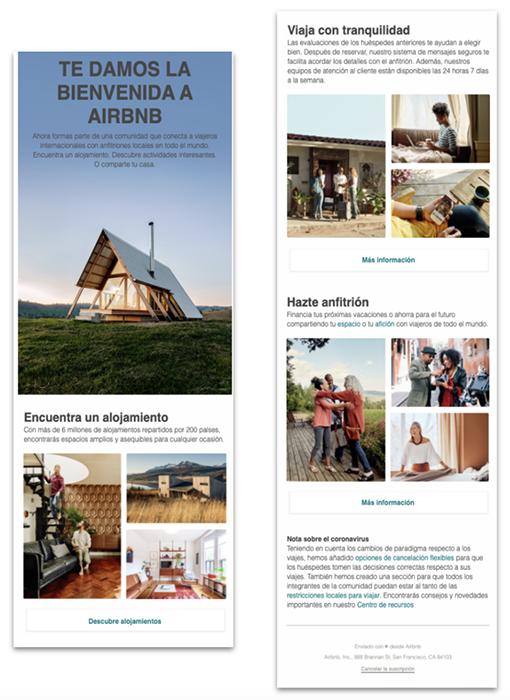 Ejemplo de email de bienvenida - AirBnB