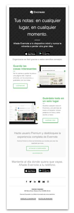 Ejemplo de email de bienvenida - Evernote