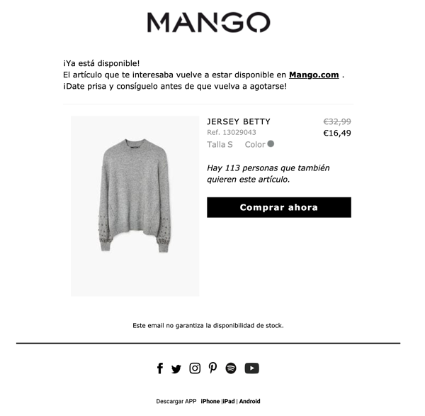 Email de reposicion de producto - Mango