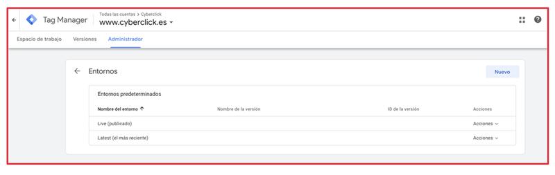 Que es Google Tag Manager - Entornos