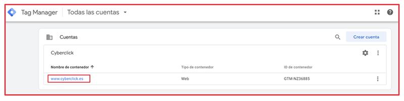 Que es el Google Tag Manager - Contenedor