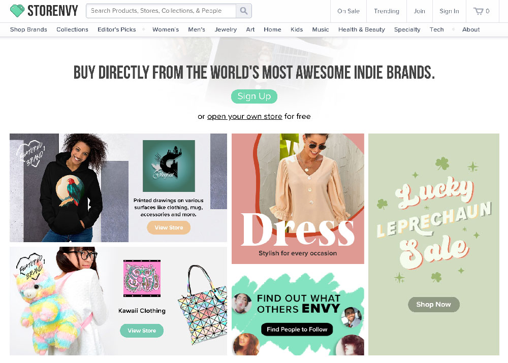 Plataforma ecommerce las mejores de venta digital Storenvy