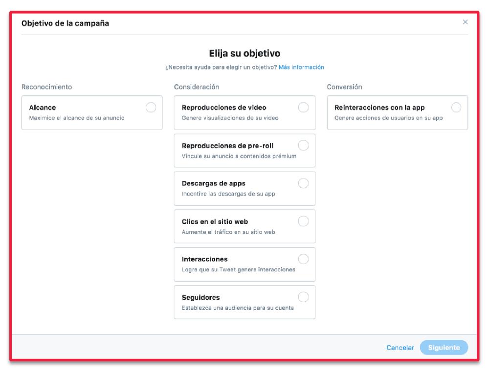 Twitter-objetivos-de-campana Segmentacion y remarketing en redes sociales como hacerlo con exito
