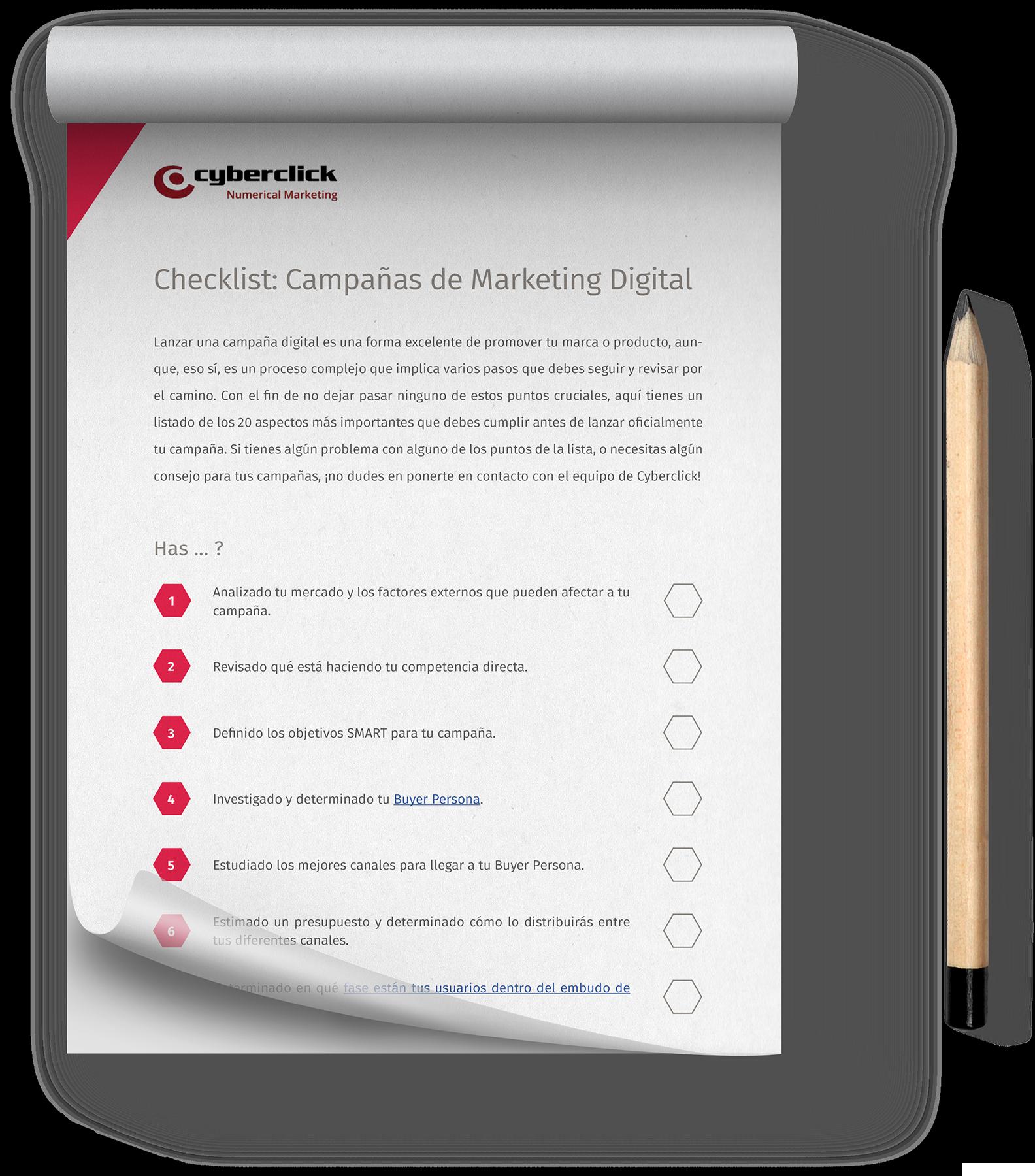 Checklist con los requisitos para tus campañas de marketing online