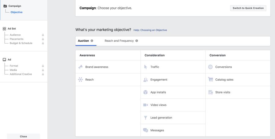 Objetivos de campañas que ofrece Google