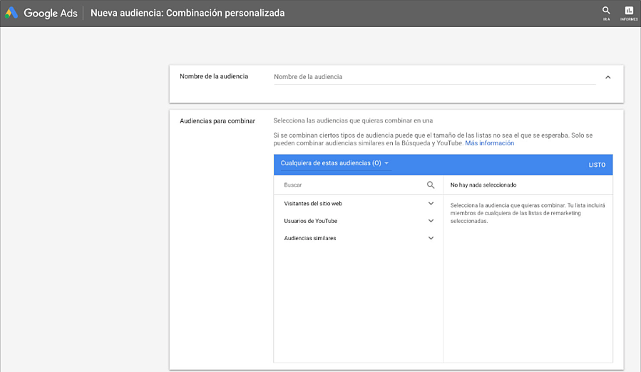 Google Ads Combinacion personalizada audiencia remarketing