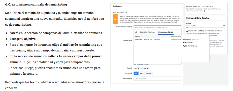 Como hacer remarketing en facebook e instagram