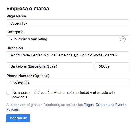 Cómo crear tu página de empresa en Facebook paso a paso 6