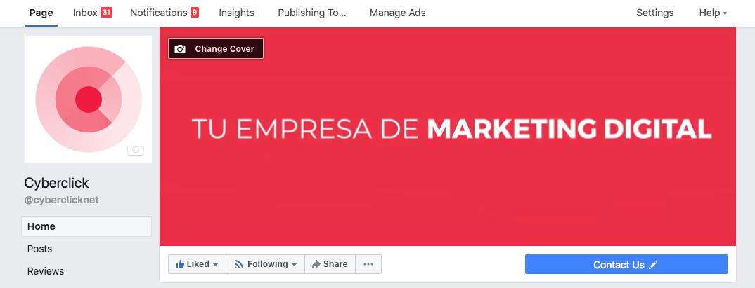 Crear una cuenta en Facebook - Cambiar imagen de portada