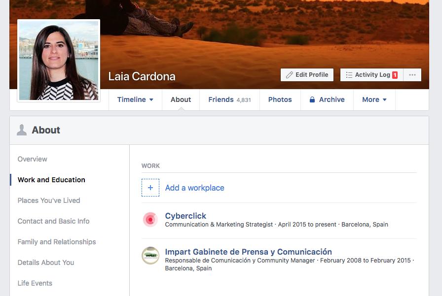 Crear una cuenta en Facebook - Datos de la bio