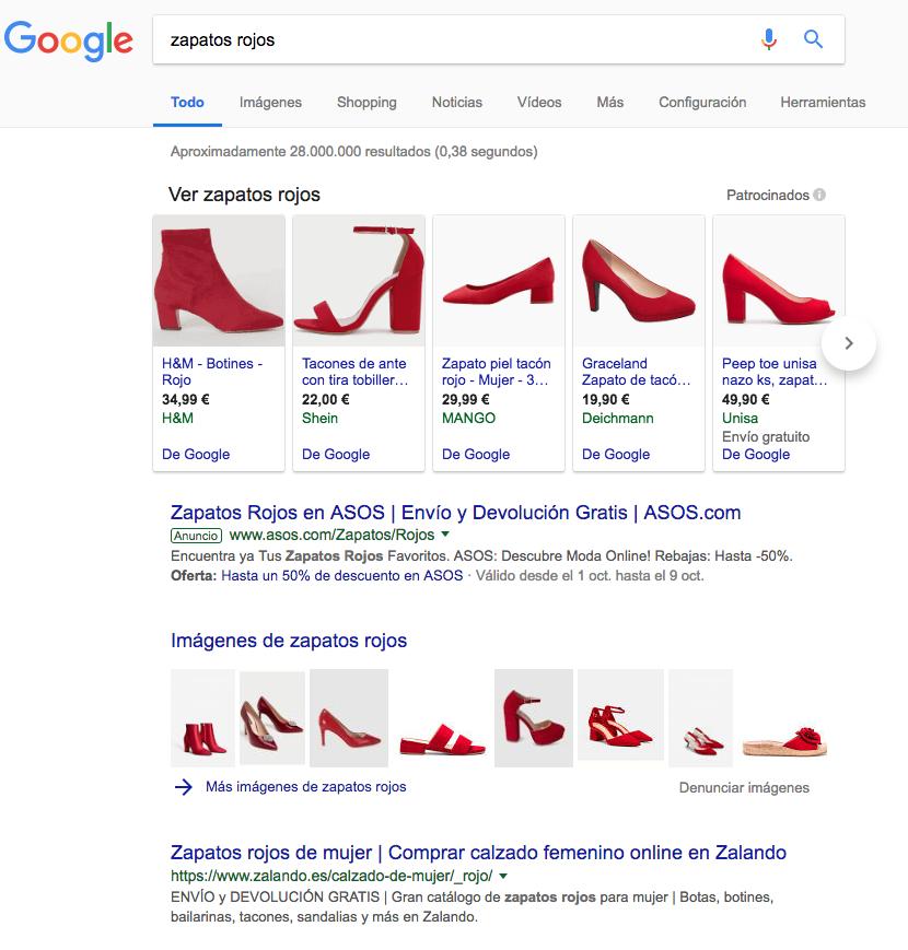 Ejemplos de anuncios en buscadores
