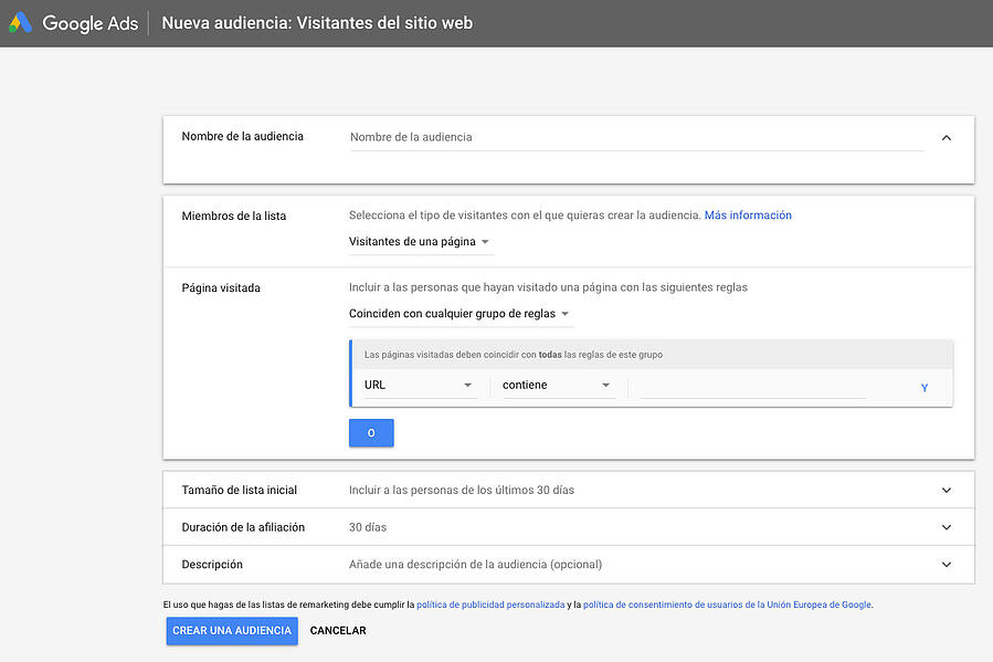 Google Ads Crear audiencia visitas web