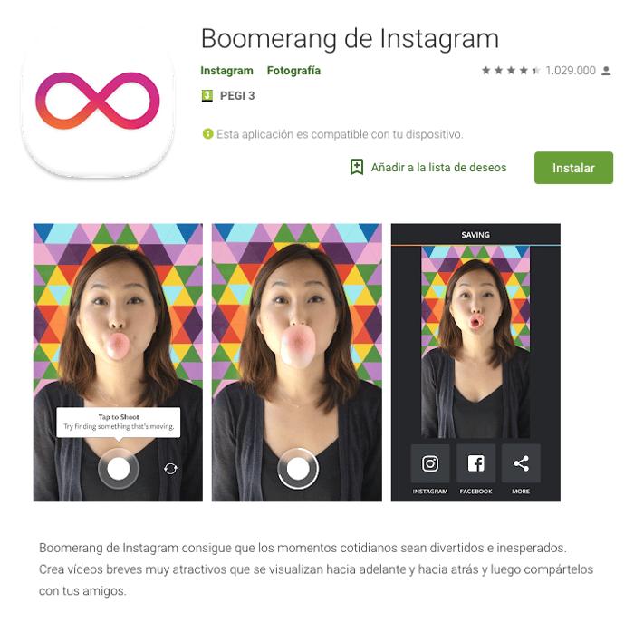 Herramientas Instagram 2019 - Boomerang de Instagram