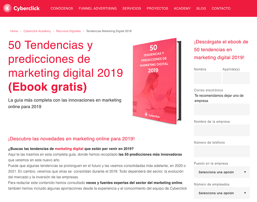 Inbound Marketing - Ebook Tendencias 2019