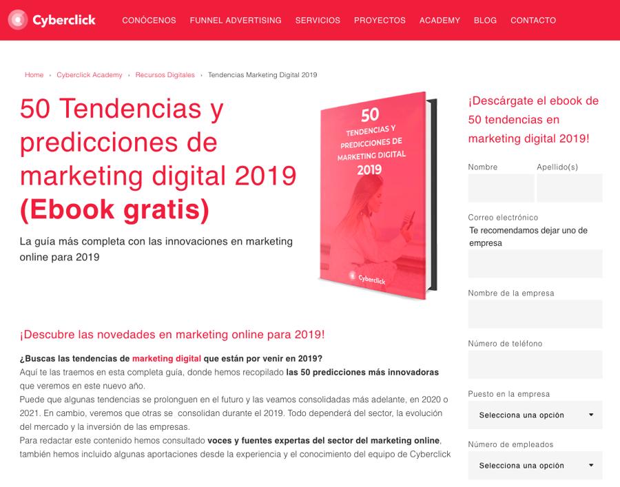 Inbound Marketing - Ebook Tendencias 2019