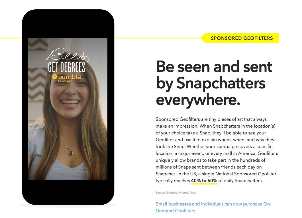 Sponsored Geofilters Publicidad en Snapchat