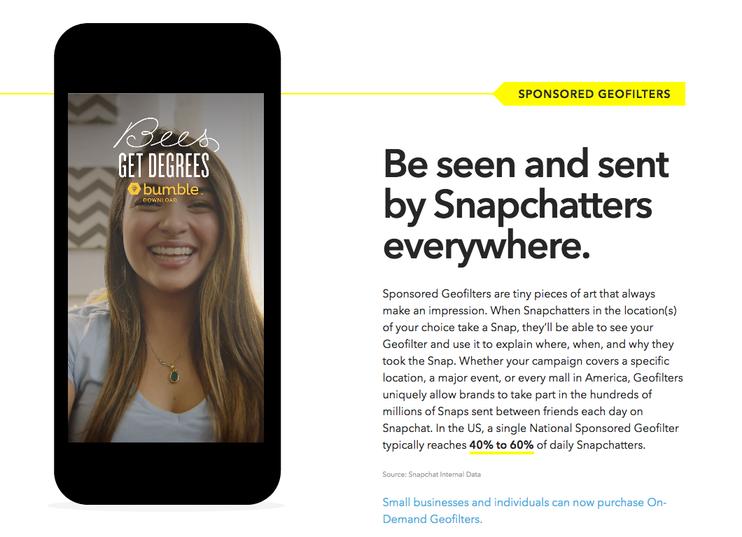 Sponsored Geofilters Advertising on Snapchat