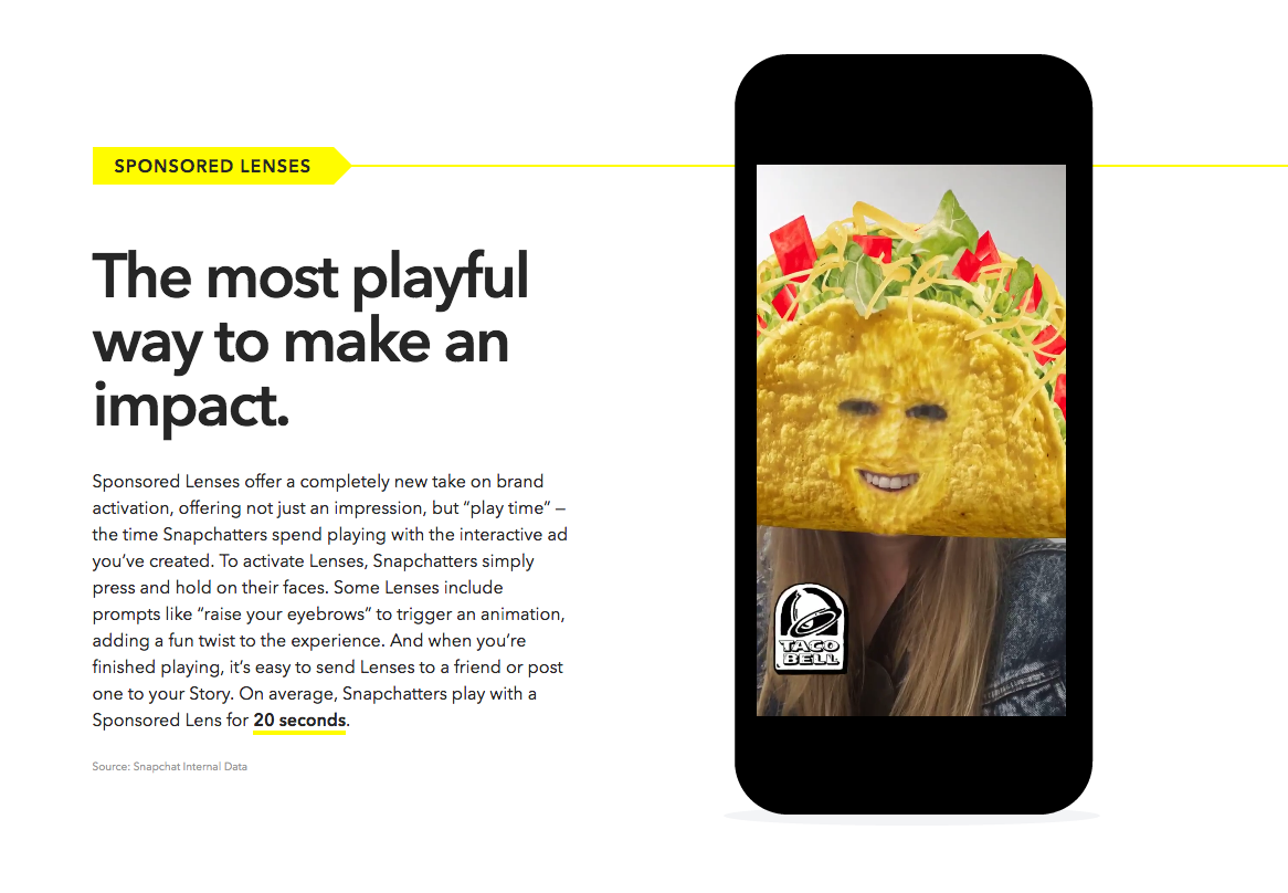 Sponsored Lenses Advertising on Snapchat
