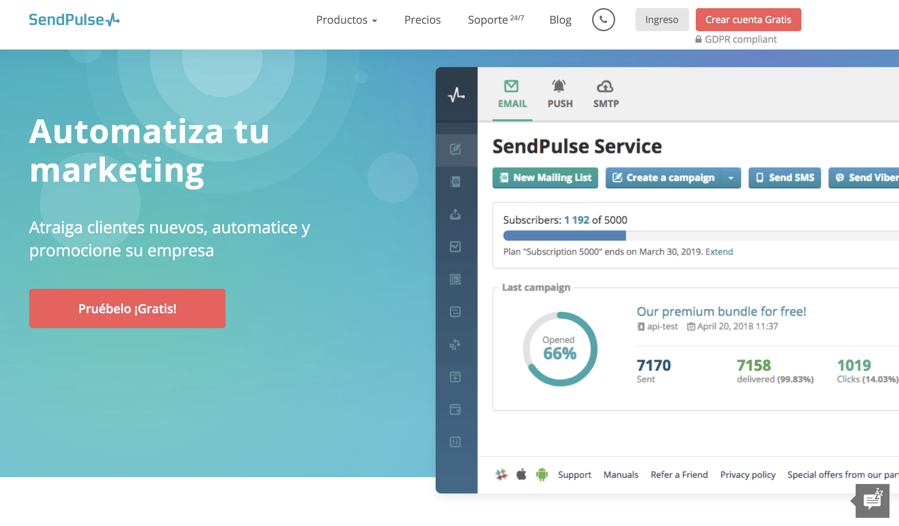 herramienta email marketing - sendpulse