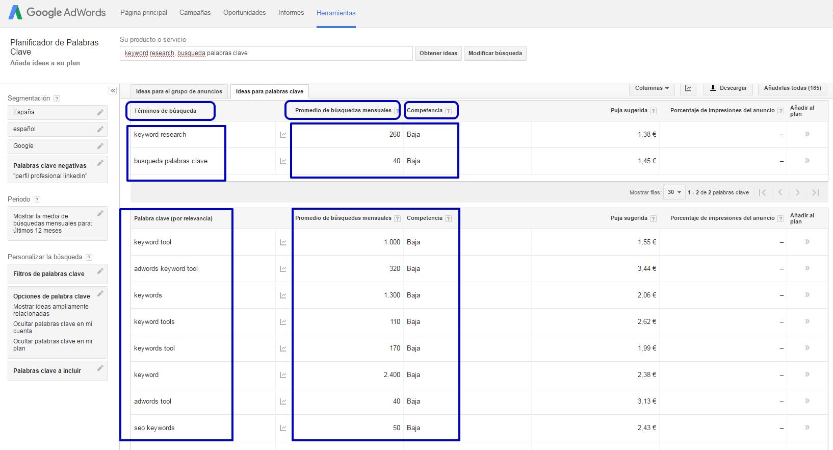 """""""Keyword research"""" para mejorar los contenidos de tu blog - volumen de busquedas y competencia keyword planner"""